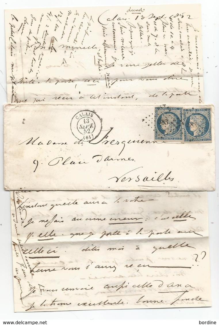 PAS DE CALAIS - CALAIS - PC.583 S/TPND Cérès N°4dx2 + Càd Type 15 - 1852 Voir Description - 1849-1850 Ceres