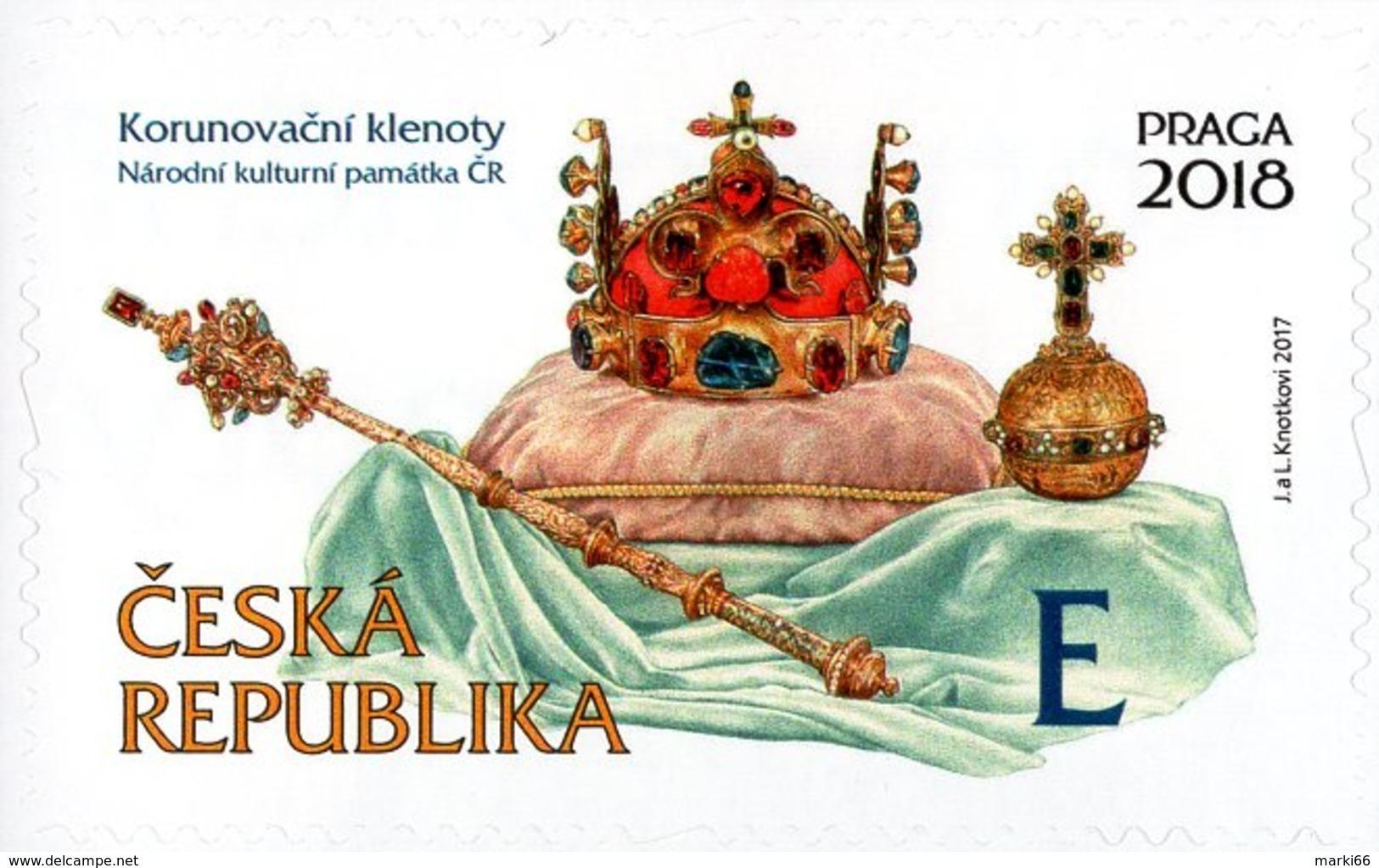 Czech Republic - 2017 - Crown Jewels - Praga 2018 World Stamp Exhibition - Mint Self-adhesive Booklet Stamp - Neufs