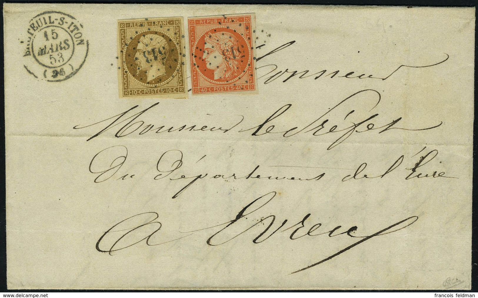 Lettre N° 5 + 9, 40c Orange Vif + 10c Bistre Foncé Sur L Tarif à 50c Double Port, De Breteuil Sur Iton à Evreux 15 Mars  - Francobolli