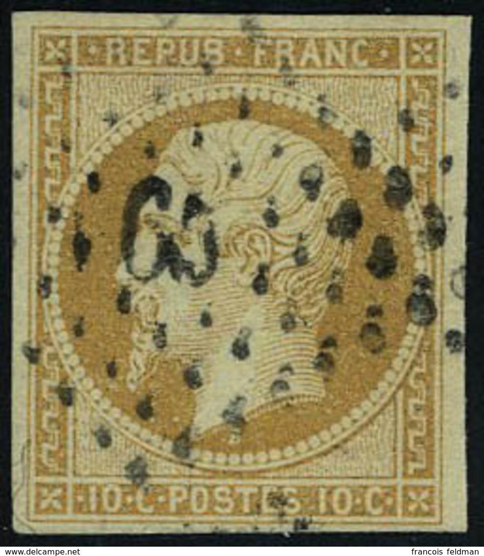 Oblitéré N° 9, 10c Bistre-jaune, T.B. Signé A.Brun - Francobolli