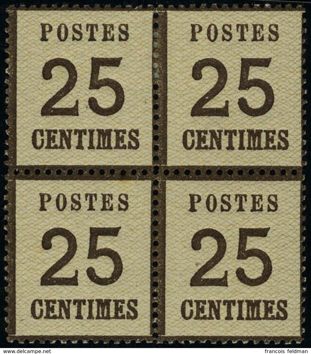 Neuf Sans Charnière N° 7, 25c Brun Noir Bloc De 4, 2ex Cl, 1ex Rousseur, TB - Non Classificati