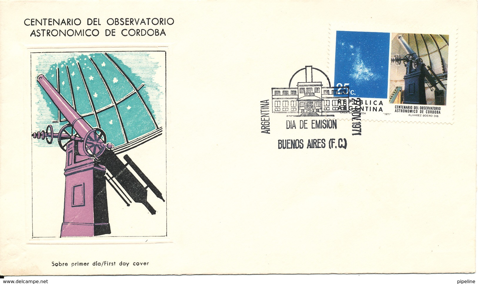 Argentina FDC 27-11-1971 Astronomy With Cachet - Astronomy