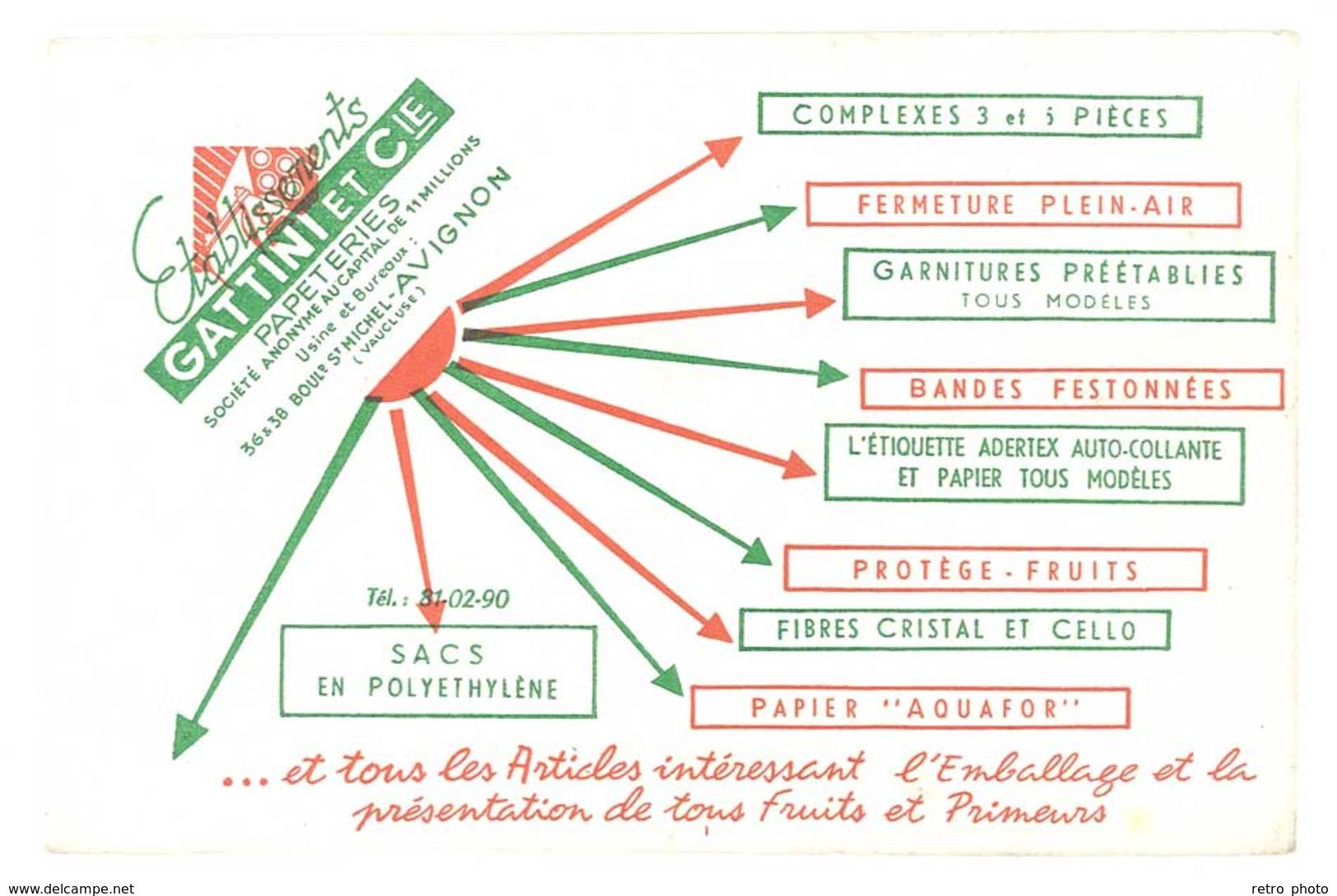 Buvard Ets Gattini & Cie, Papeteries , Avignon ( Autre Version ) - Papeterie