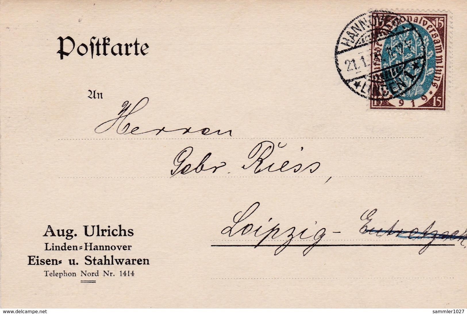 Karte Aus Hannover 1920 - Allemagne