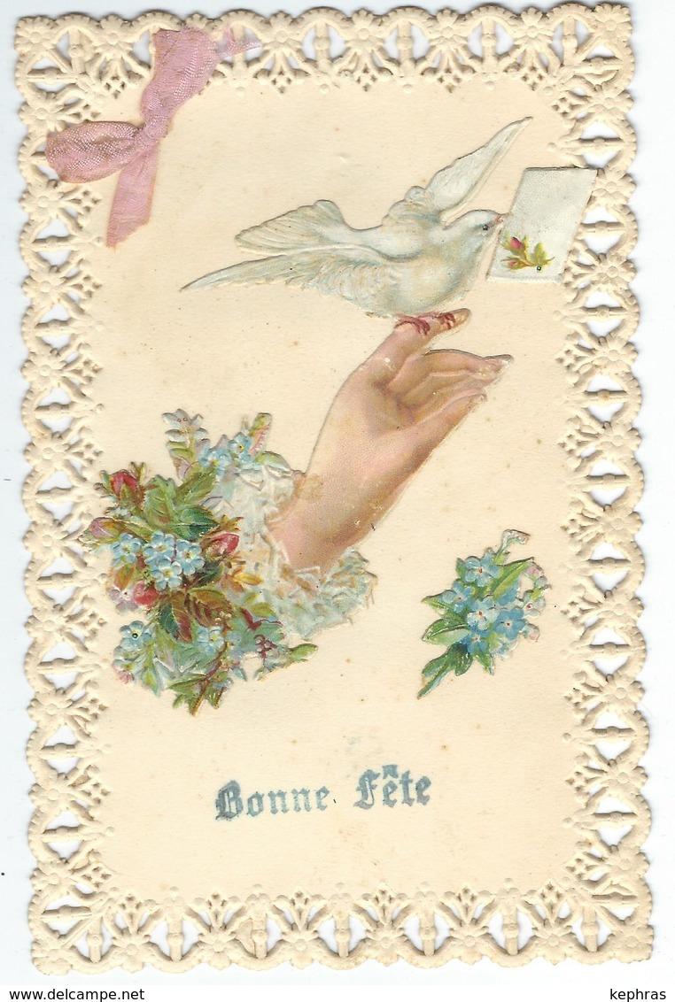 Bonne Fête - Découpis - Fleur - Main - Colombe - Noeud En Tissus - Courrier De 1907 - Other