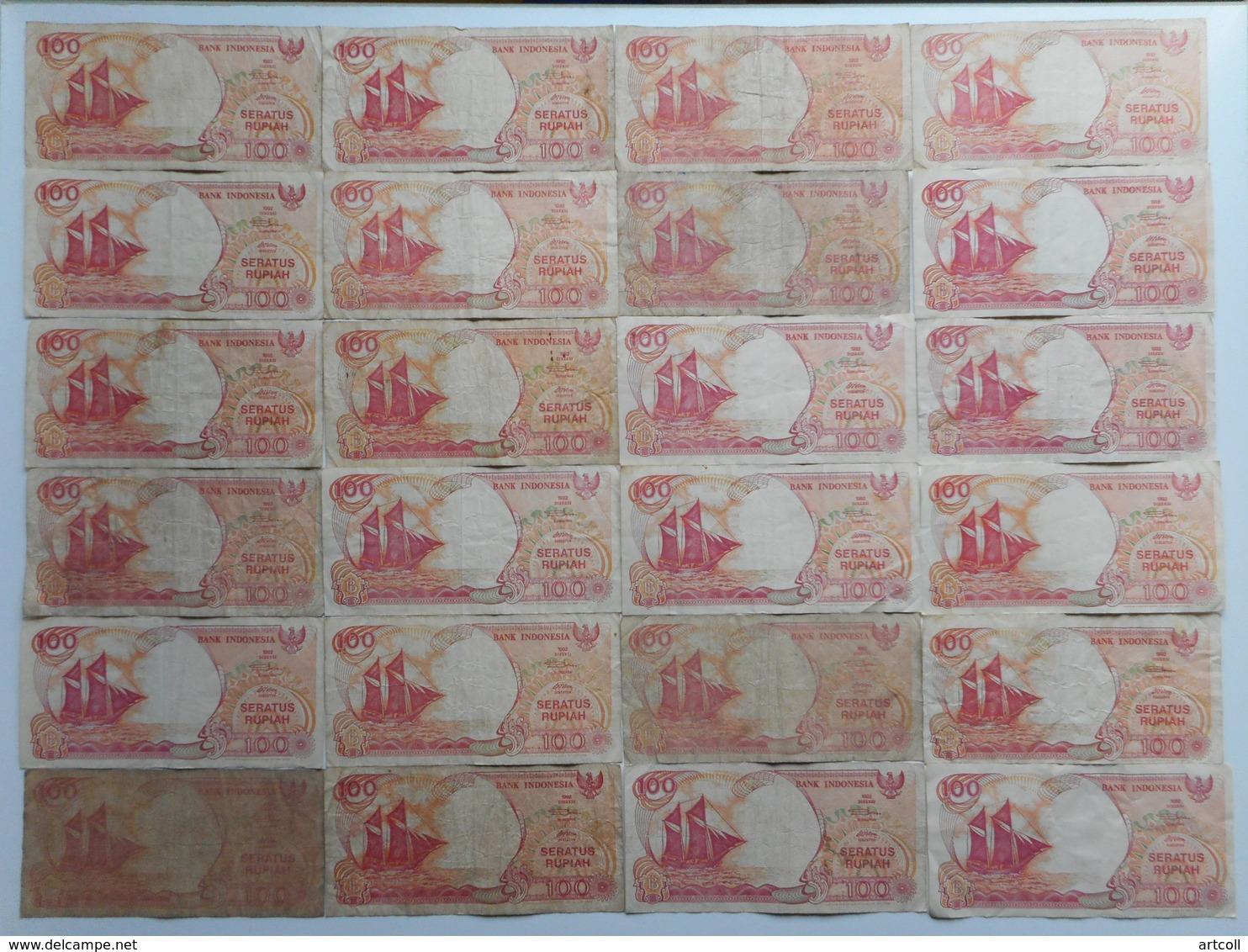 Indonesia 100 Rupiah 1992 (Lot Of 24 Banknotes) - Indonésie