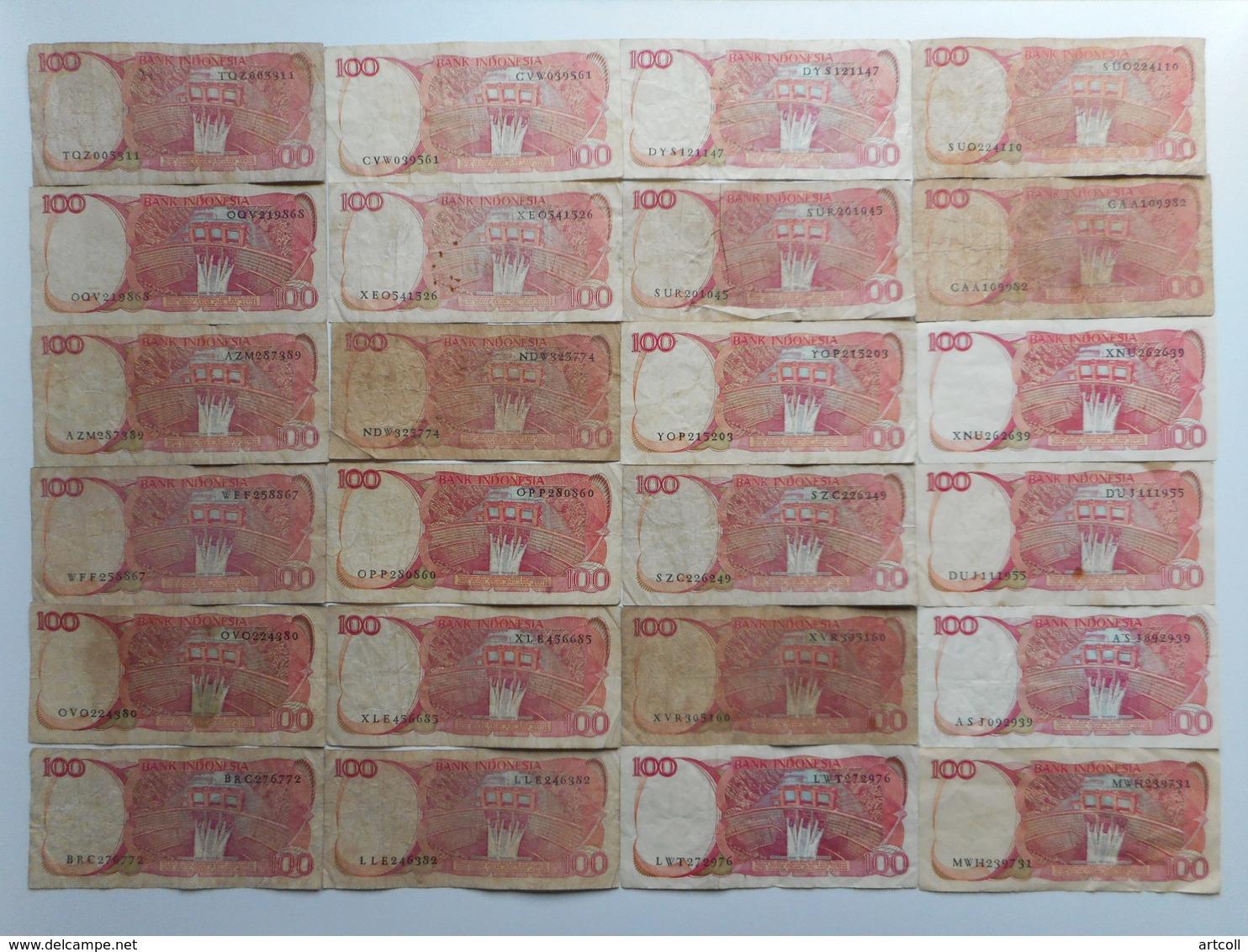 Indonesia 100 Rupiah 1984 (Lot Of 24 Banknotes) - Indonésie