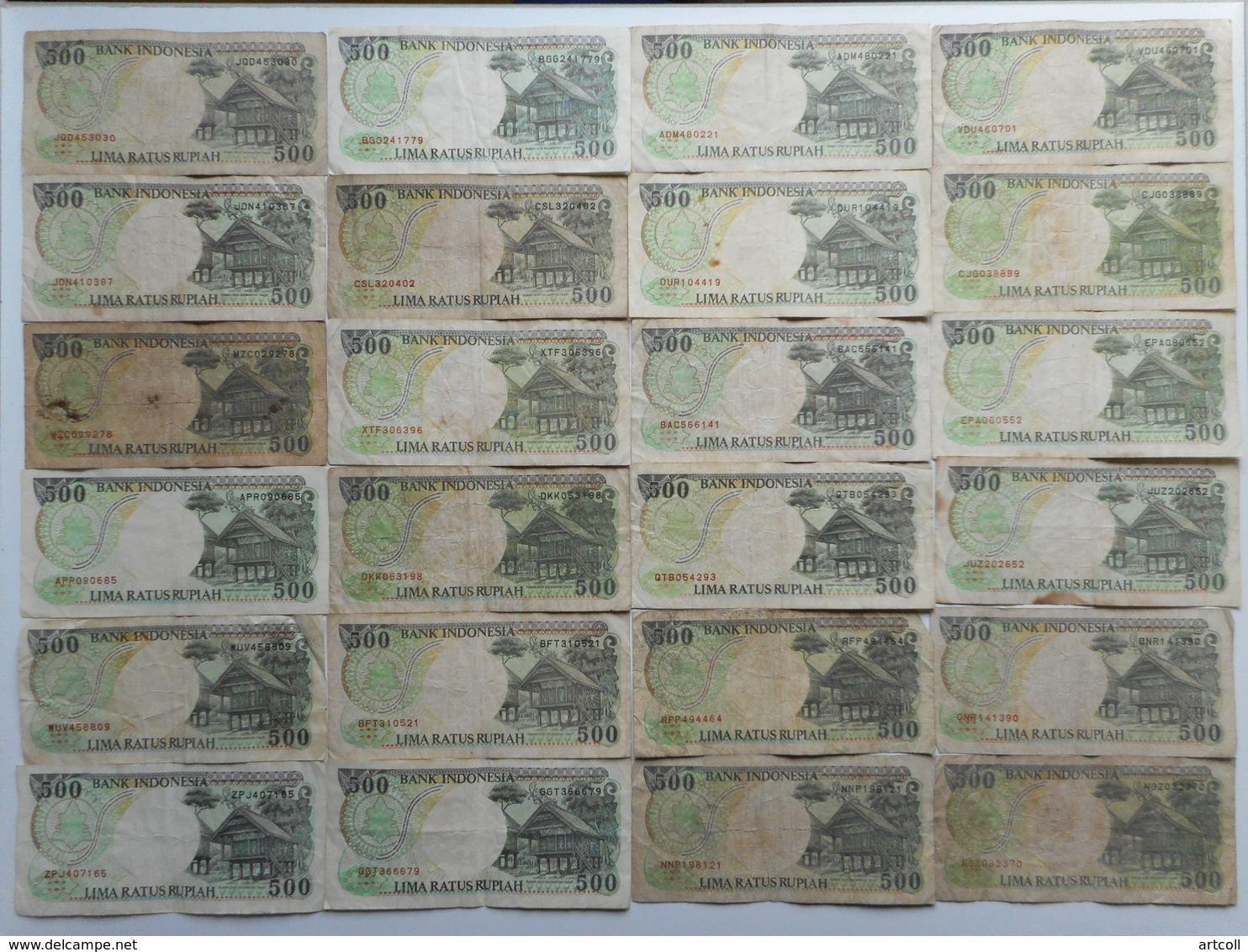 Indonesia 500 Rupiah 1992 (Lot Of 24 Banknotes) - Indonésie
