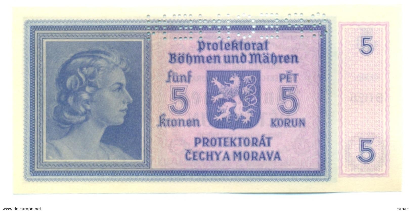 Funf Kronen, Pet Korun, 5 Korun, PROTEKTORAT, 1940, SPECIMEN, Čechya Morava, B 026, Bohemia Moravia - Tchécoslovaquie