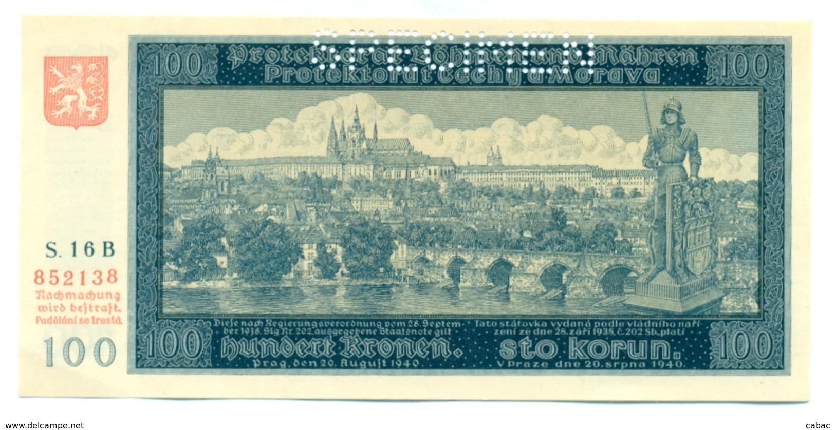 Hundert Kronen, Sto Korun, 100 Korun, PROTEKTORAT, 1940, SPECIMEN, Čechya Morava, S. 16B Bohemia Moravia - Tchécoslovaquie