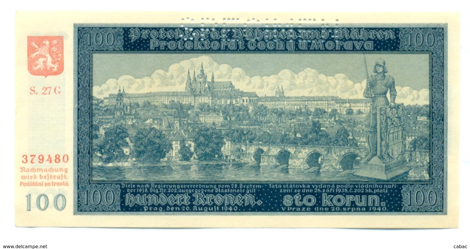 Hundert Kronen, Sto Korun, 100 Korun, PROTEKTORAT, 1940, SPECIMEN, Čechya Morava, S. 27G Bohemia Moravia - Tchécoslovaquie