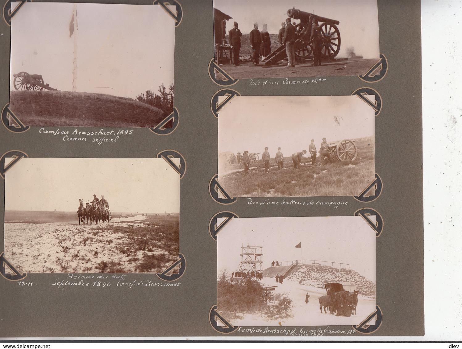 Brasschaet 1895-1896 - 5 Foto's Formaat 7.5 X 11 En 10 X 6.5 Cm - Guerre, Militaire