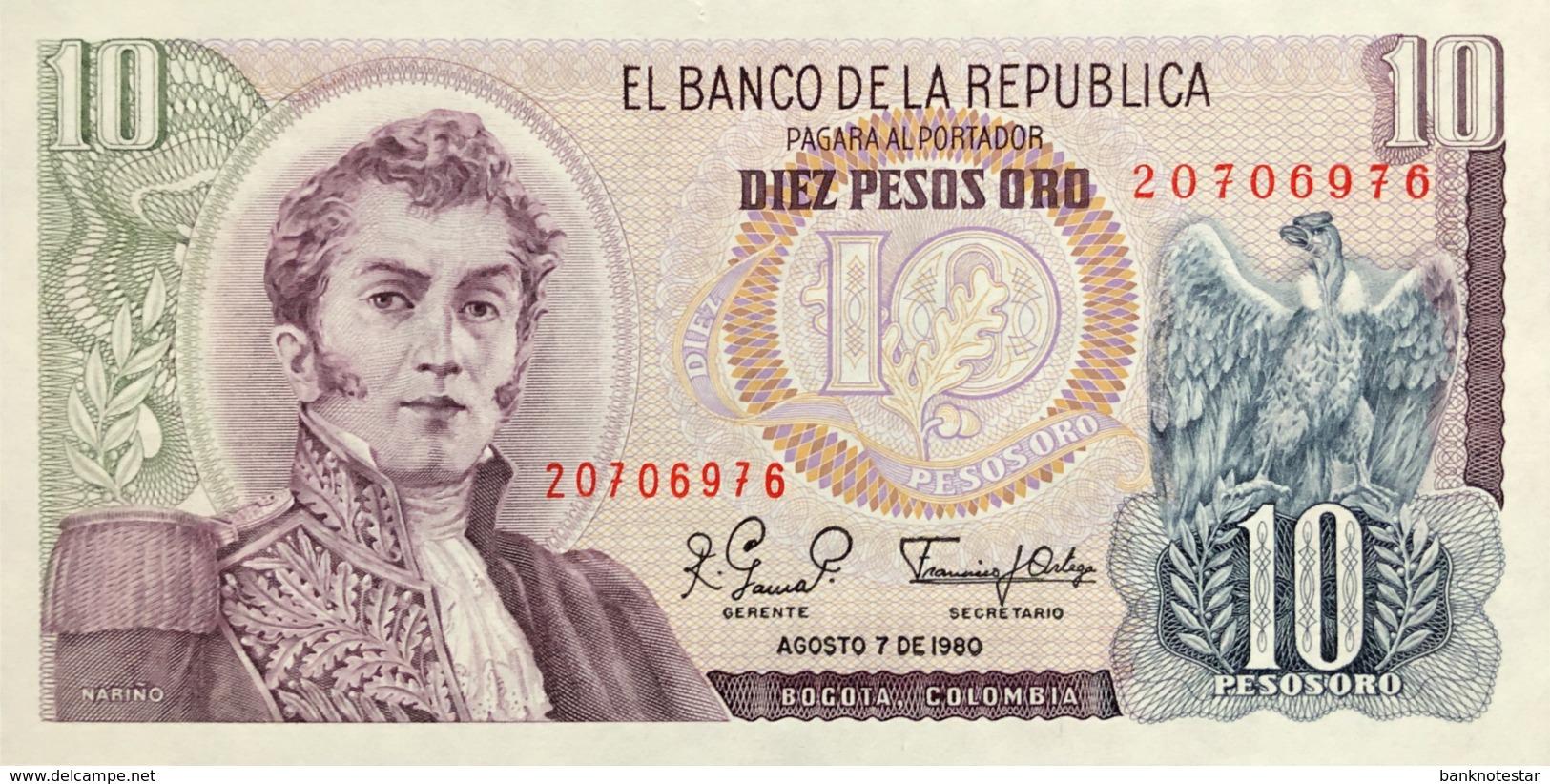 Colombia 10 Pesos Oro, P-407g (7.8.1980) - UNC - Colombie