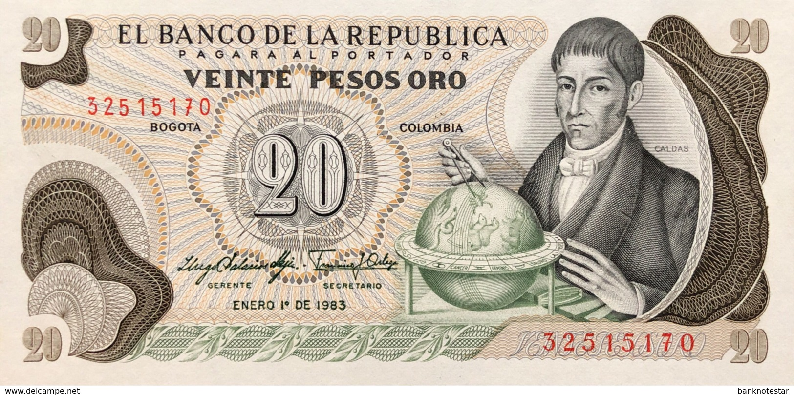 Colombia 20 Pesos Oro, P-409d (1.1.1983) - UNC - Colombie
