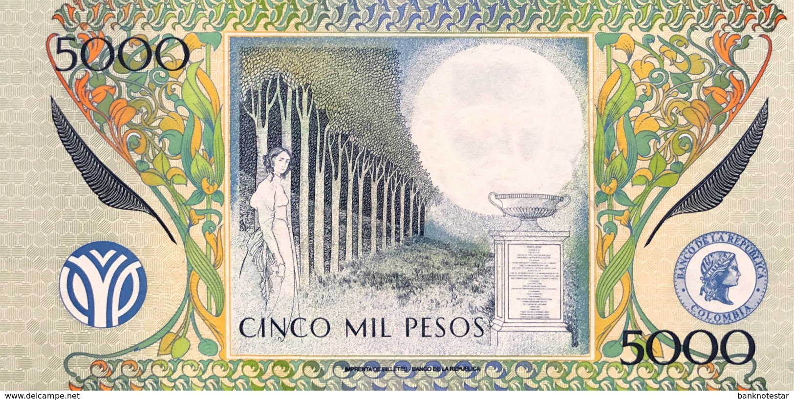 Colombia 5.000 Pesos, P-452b (17.12.2001) - UNC - Colombie
