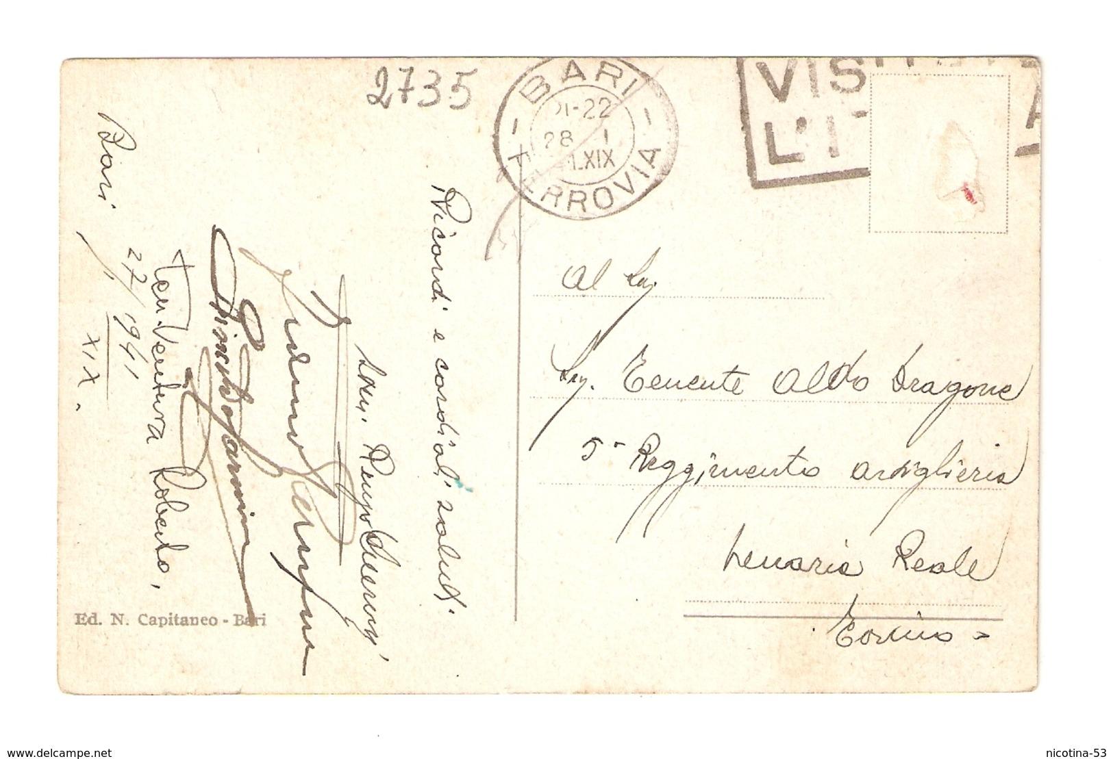 CT--02735-- BARI - LUNGOMARE NAZARIO SAURO - VIAGGIATA 1941 - FRANCOBOLLO ASPORTATO - Bari