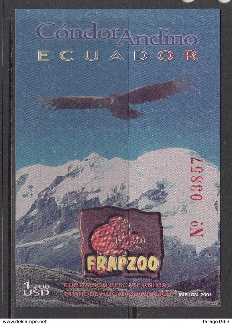2001 Ecuador Condor Birds Oiseaux Souvenir Sheet  MNH - Ecuador