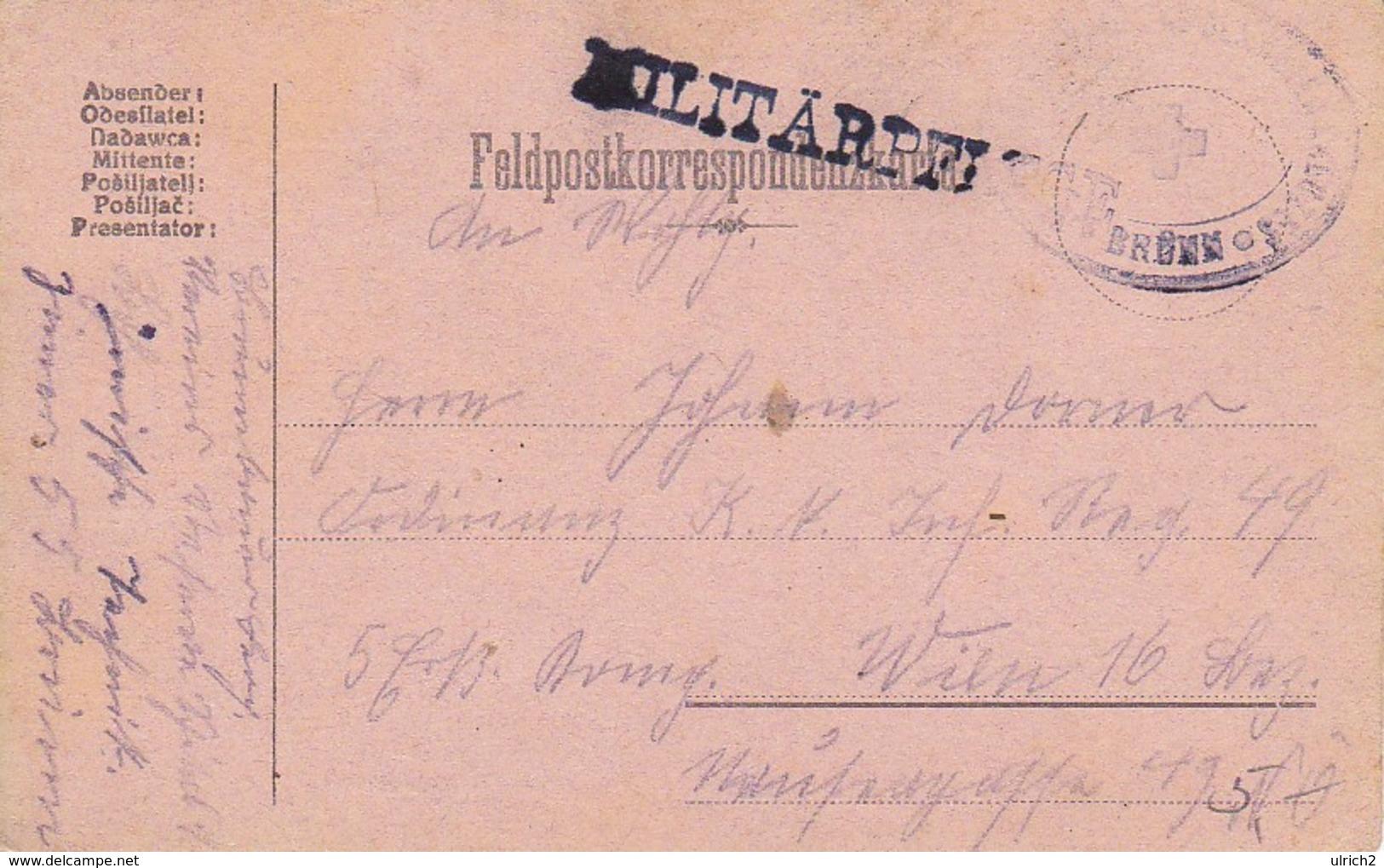 Feldpostkarte - Vereinsreservespital Des Roten Kreuzes - Brünn - Militärpflege - 1916 (39309) - 1850-1918 Imperium