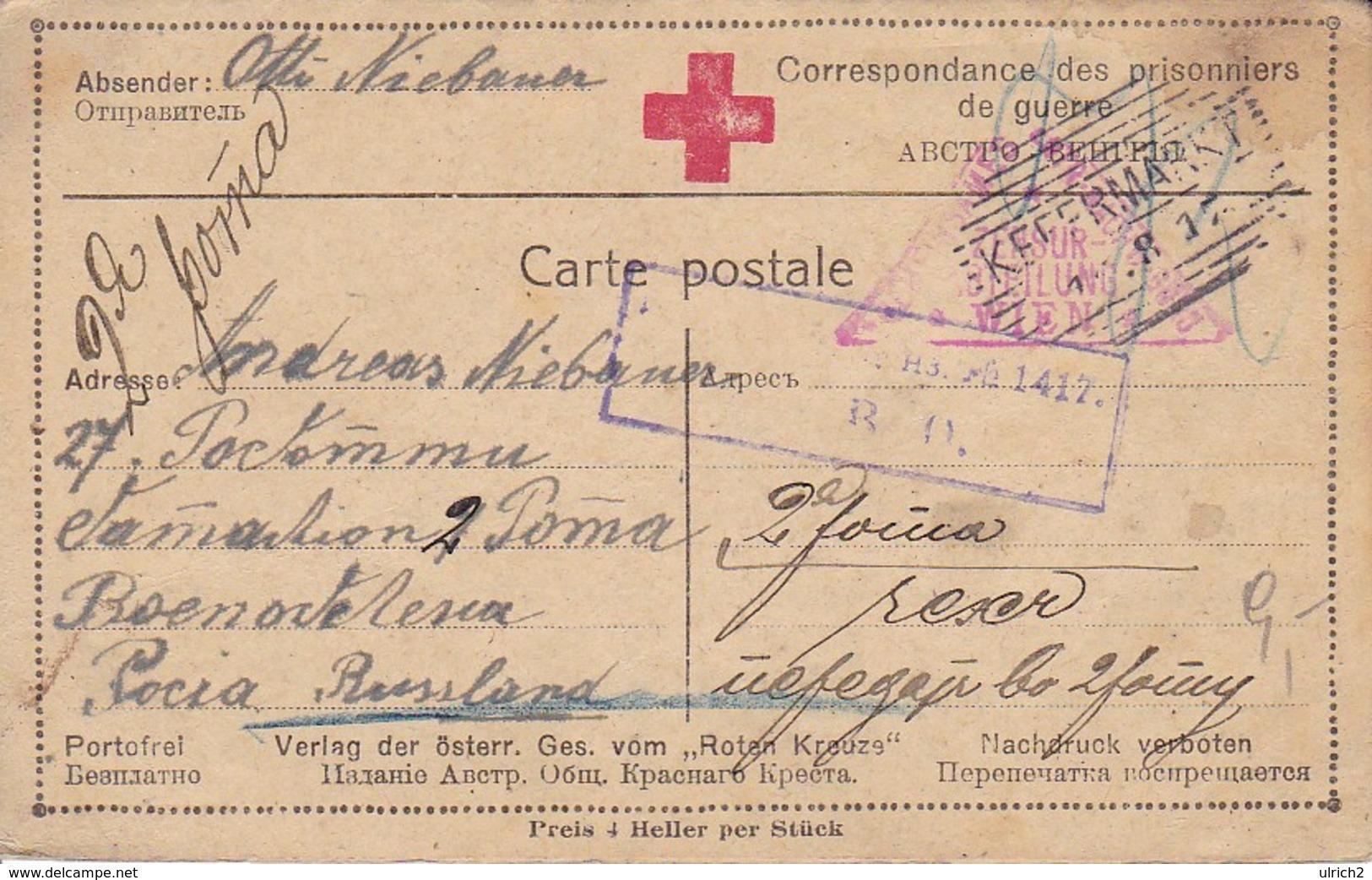 Karte Mit Antwortkarte - Kefermarkt An Kriegsgefangenen In Russland - Rotes Kreuz - POW - 1917 (39310) - Briefe U. Dokumente