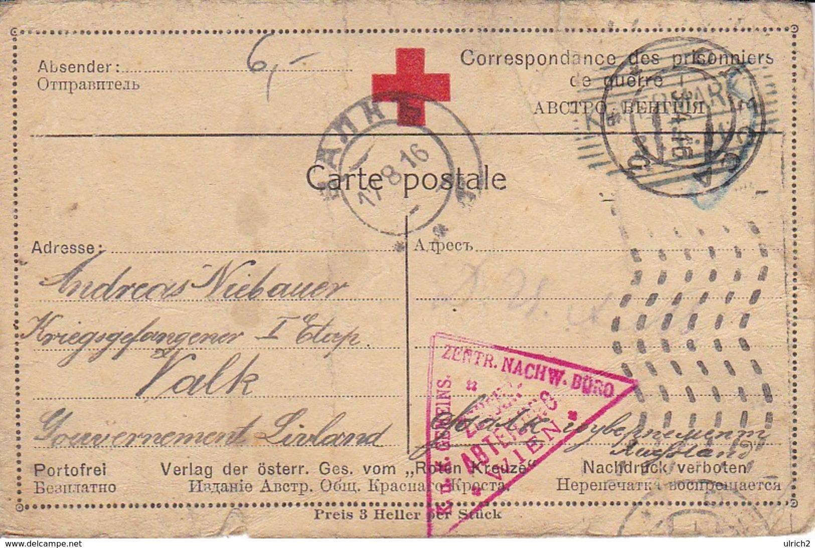 Karte - Kefermarkt An Kriegsgefangenen In Valk In Livland - Russland - Rotes Kreuz - POW - 1916 (39311) - 1850-1918 Imperium