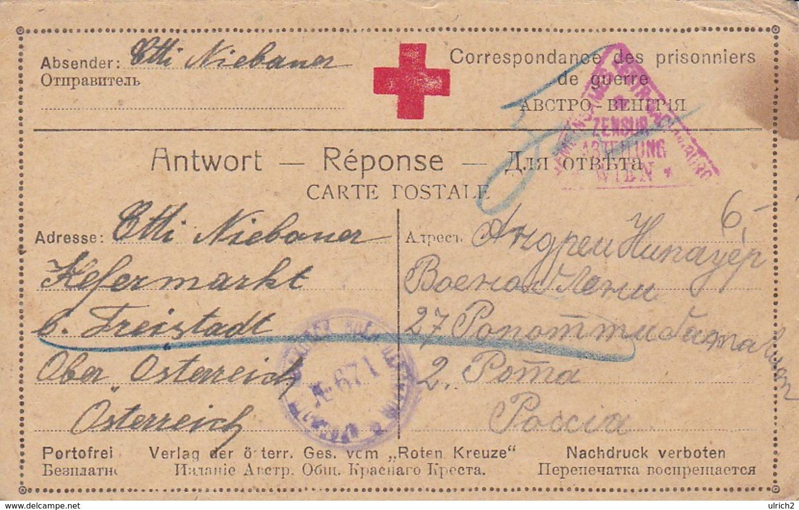 Karte - Kefermarkt An Kriegsgefangenen In Russland - Rotes Kreuz - POW - 1917 (39312) - Briefe U. Dokumente