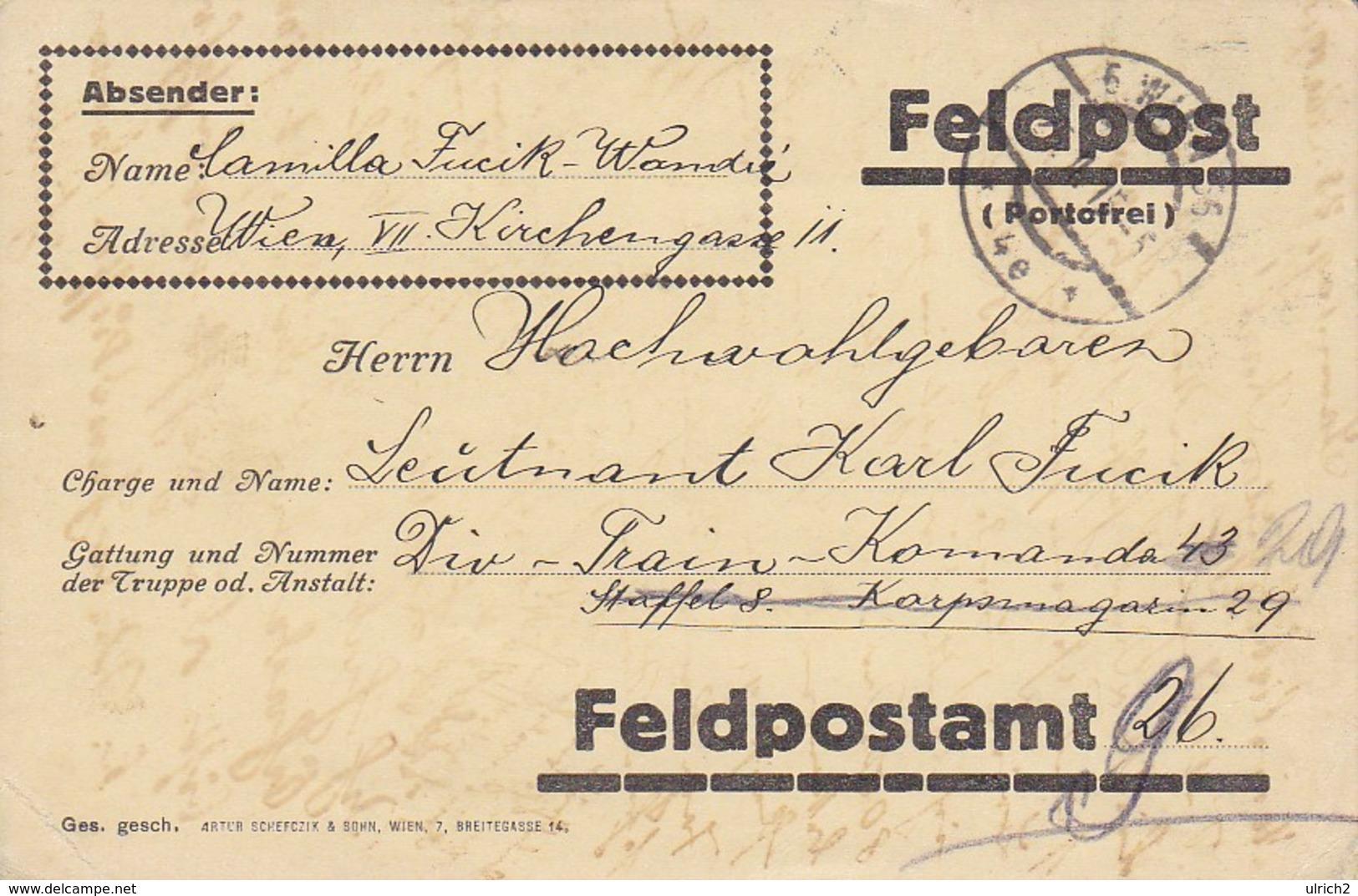 Feldpostkarte - Wien An Div-Train-Kommando 43 - 1915 (39314) - 1850-1918 Imperium