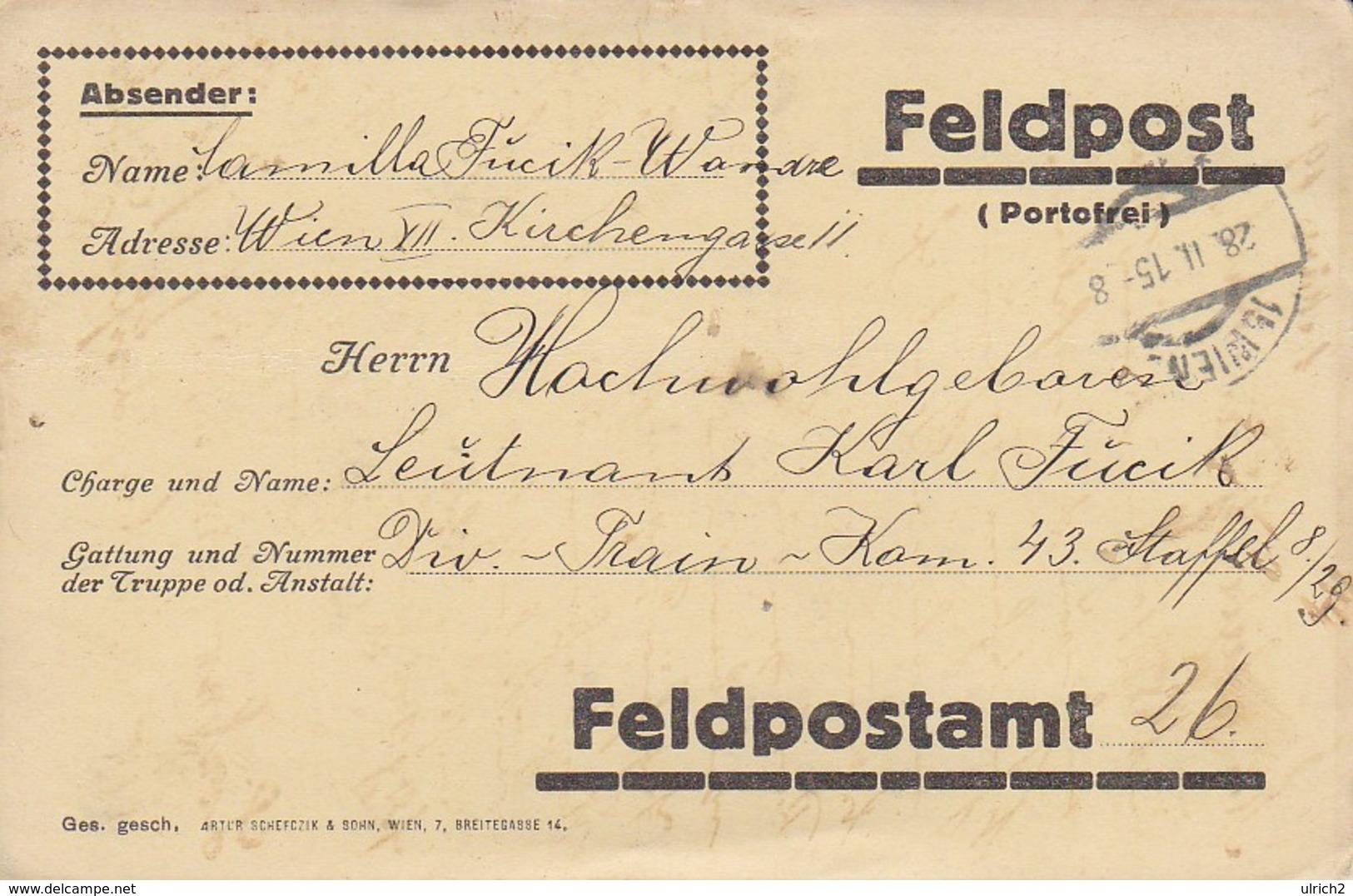 Feldpostkarte - Wien An Div-Train-Kommando 43 - 1915 (39315) - 1850-1918 Imperium