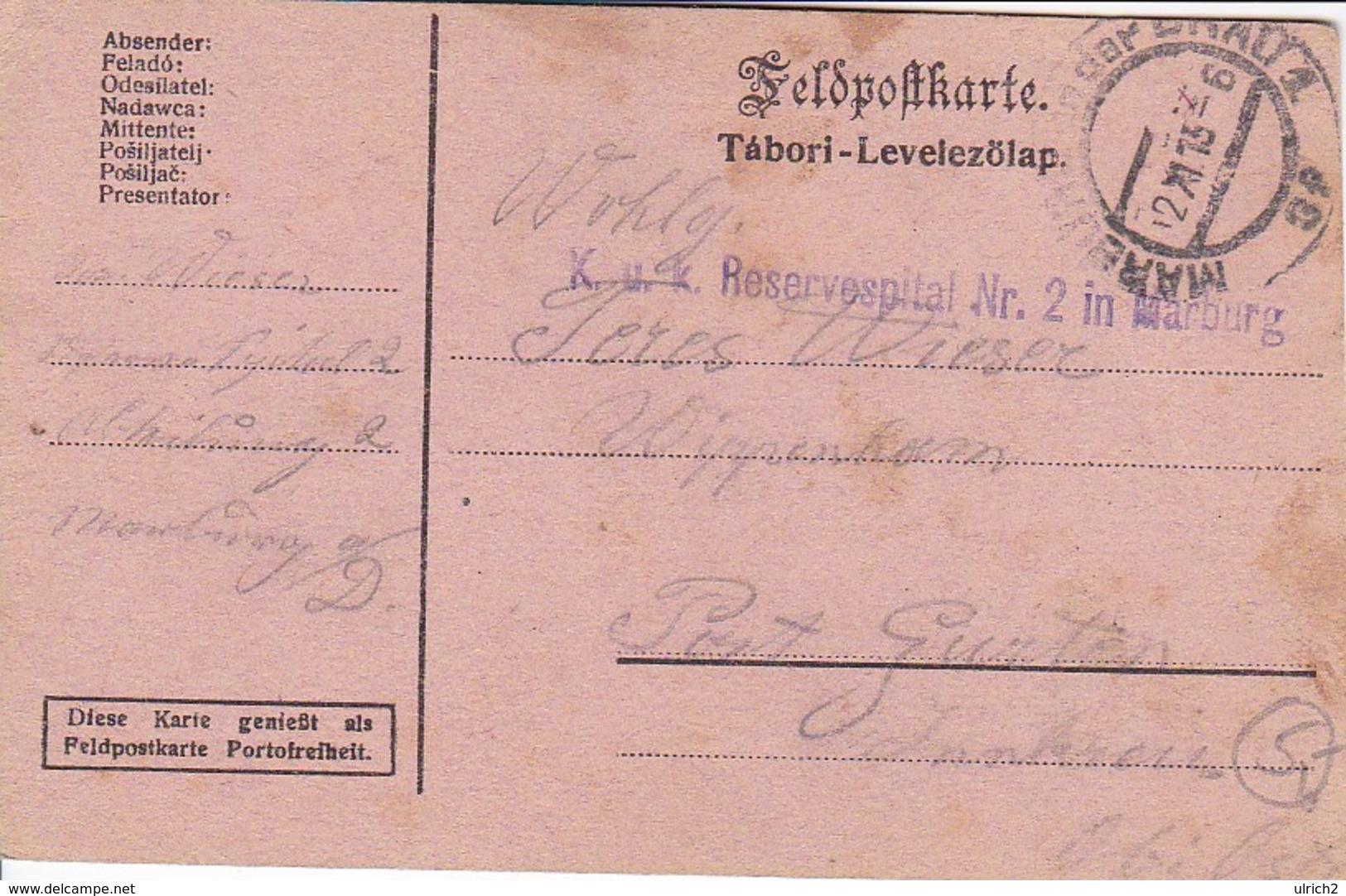 Feldpostkarte - K.u.k. Reservespital Nr. 2 In Marburg Nach Wippenham - 1915 (39319) - Briefe U. Dokumente