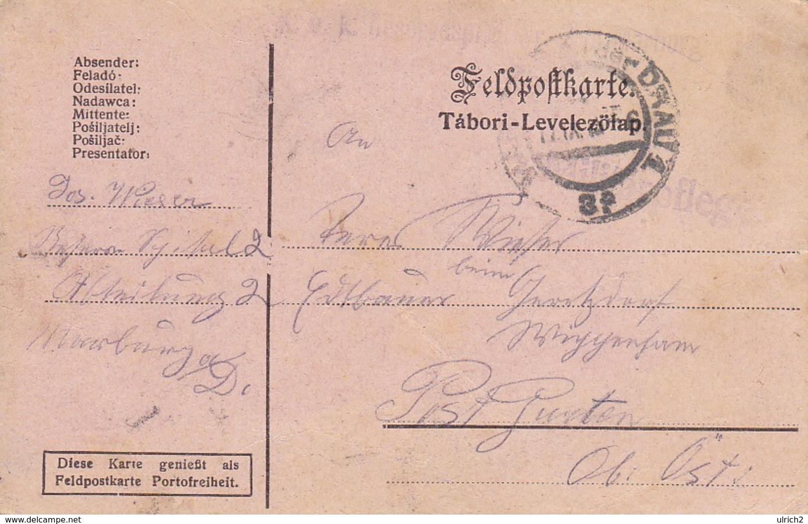 Feldpostkarte - K.u.k. Reservespital Nr. 2 In Marburg Nach Wippenham - 1915 (39320) - Briefe U. Dokumente