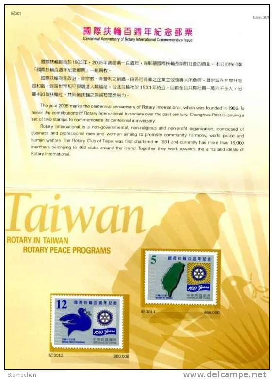 Folder 2005 100th Anni. Rotary Internat. Stamps Map Dove Bird - Celebrations