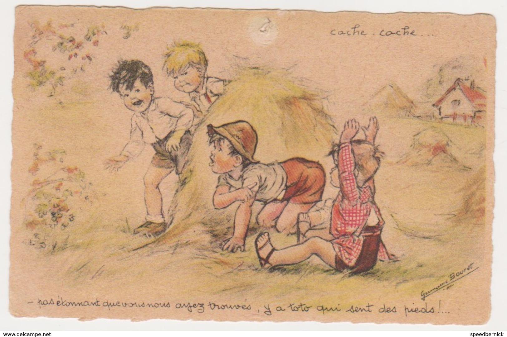 26801 Germaine Bouret 1943 -cache Cache Enfant Foin Toto Pieds ! Attention état ! AEC Paris - Bouret, Germaine