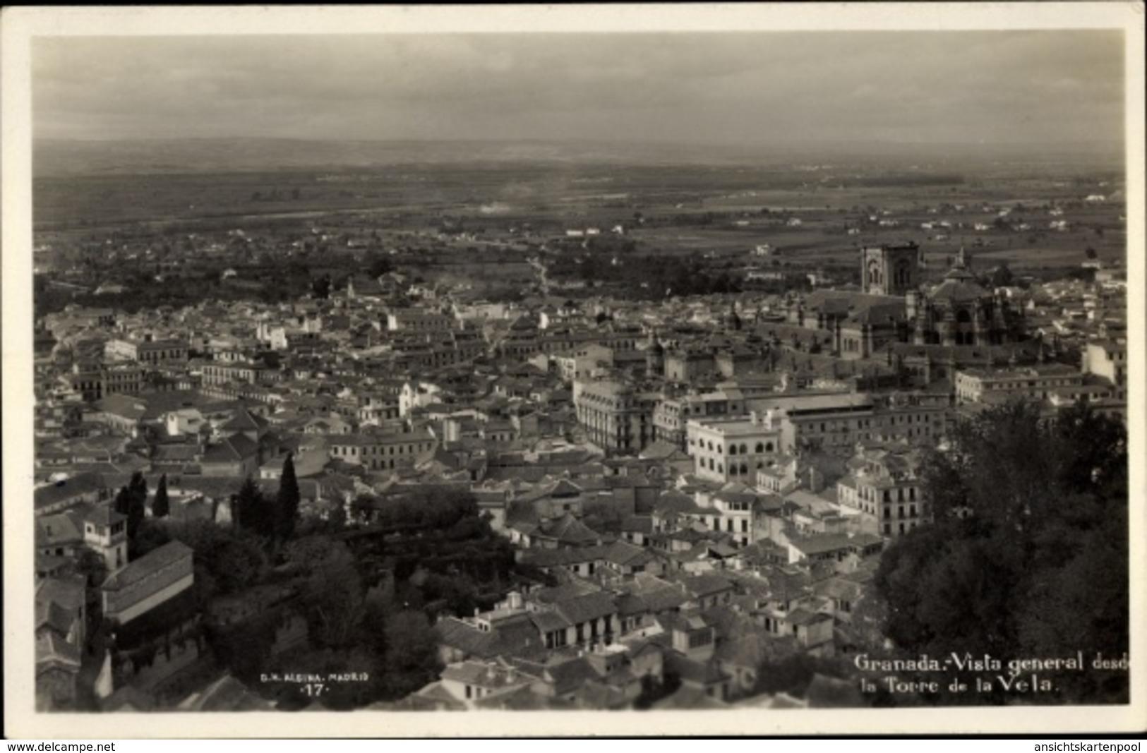 Cp Granada Andalusien Spanien, Vista General Desde La Torre De La Vela - España