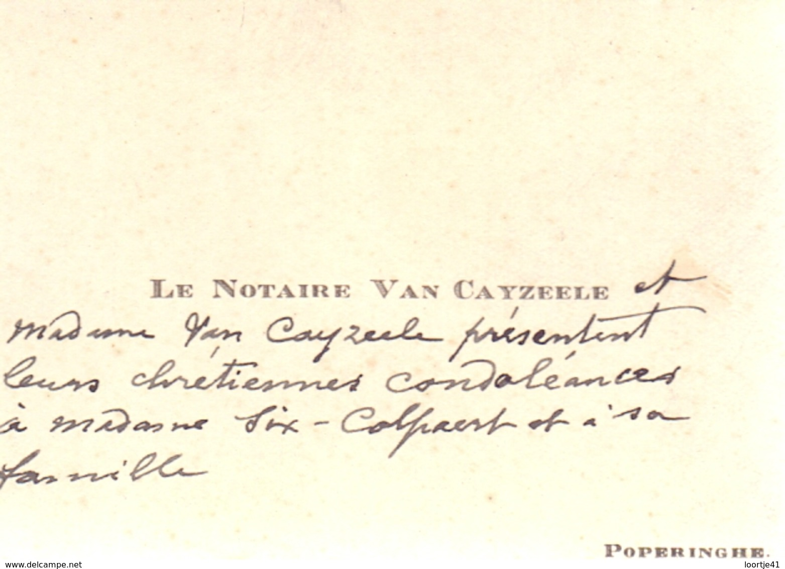 Visitekaartje - Carte Visite - Notaris - Notaire Van Cayzeele - Poperinge - Cartes De Visite