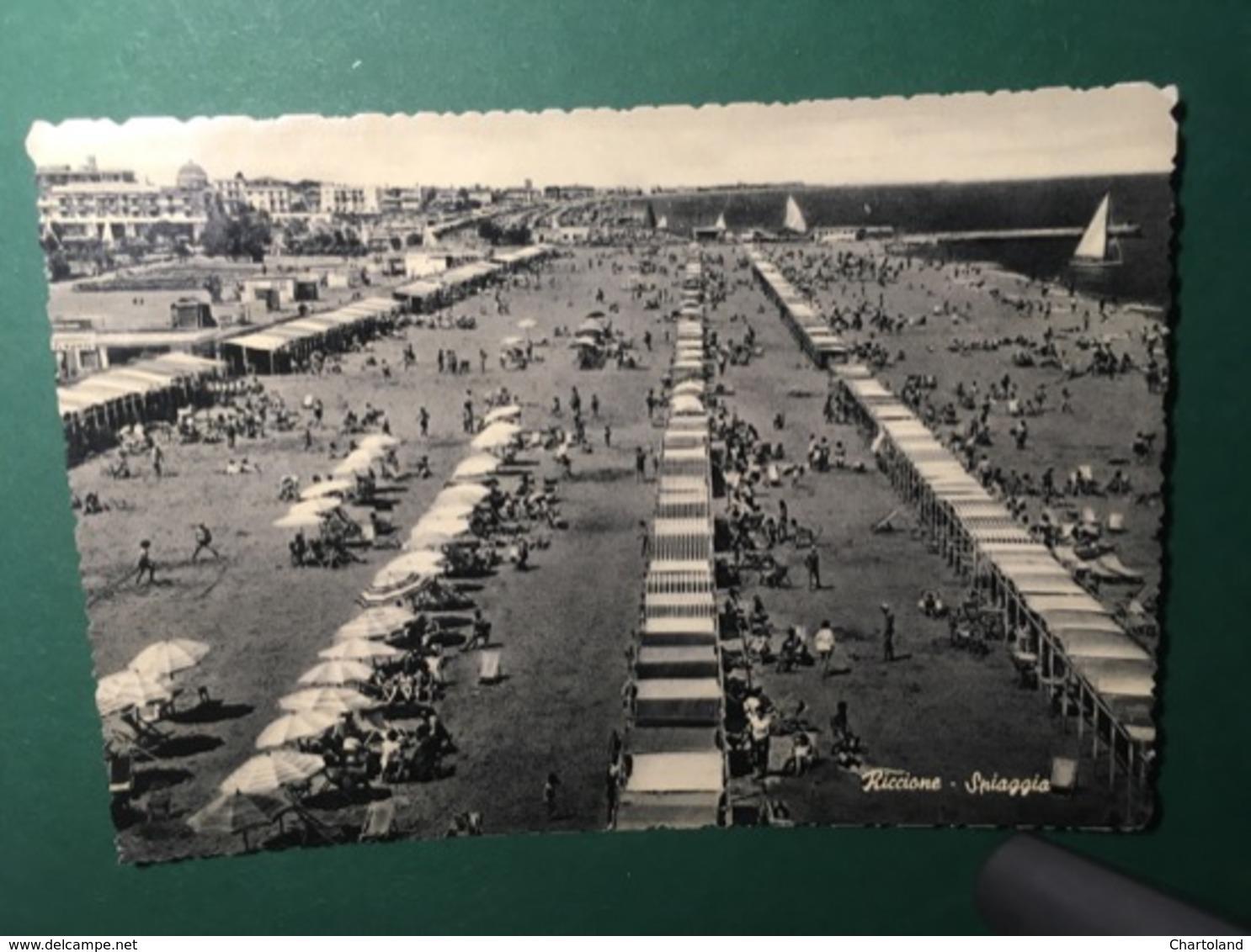 Cartolina Riccione - Spiaggia - 1956 - Rimini