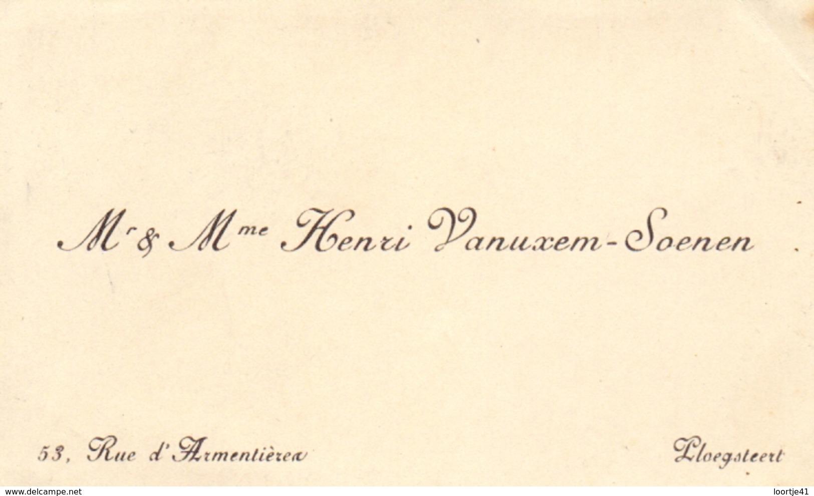 Visitekaartje - Carte Visite - Mr & Mme Henri Vanuxem - Soenen - Ploegsteert - Cartes De Visite