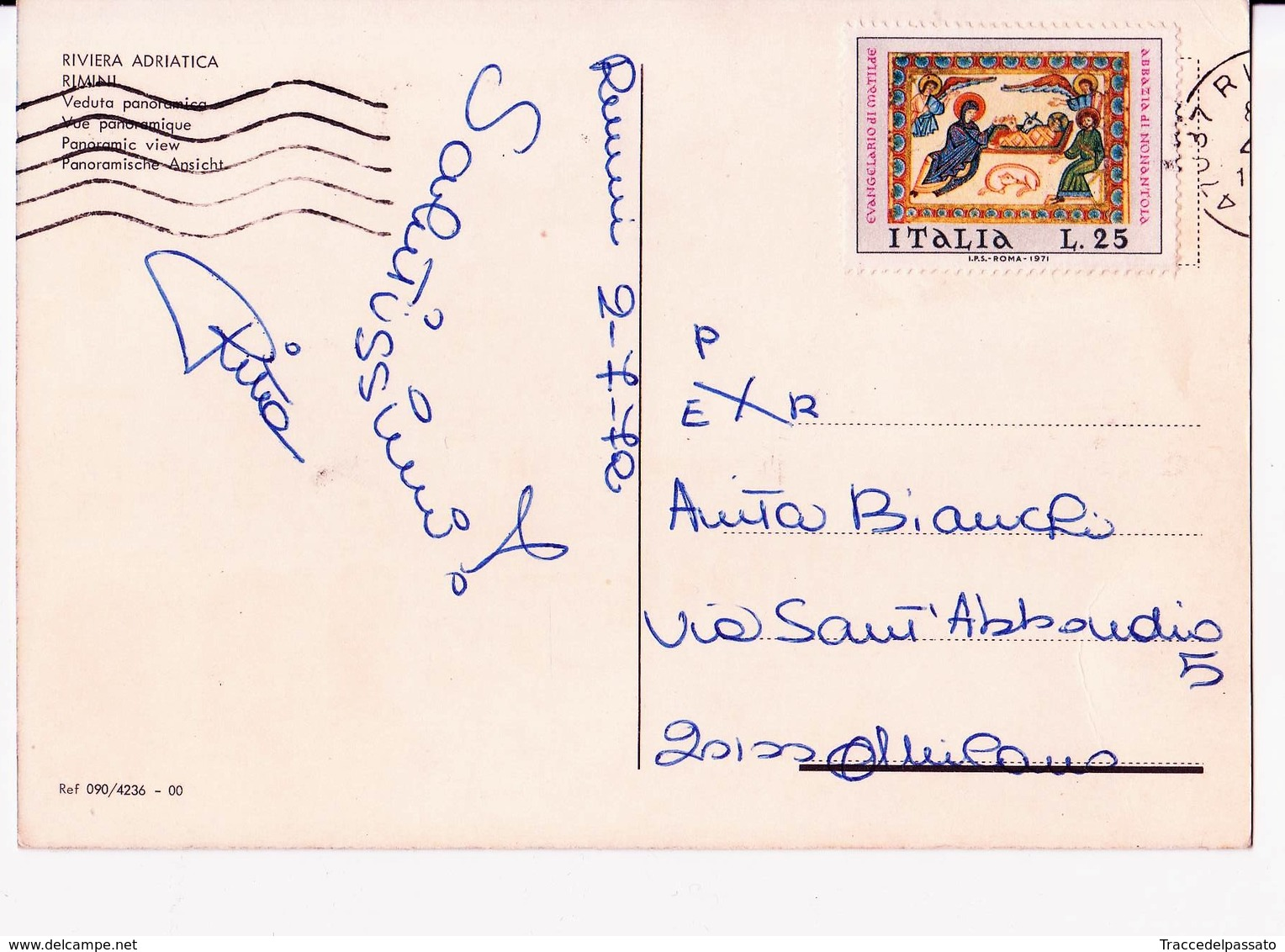 CARTOLINA RIVIERA ADRIATICA - RIMINI - PANORAMICA -  1972- FRANCOBOLLO ABBAZIA DI NONANTOLA - Rimini