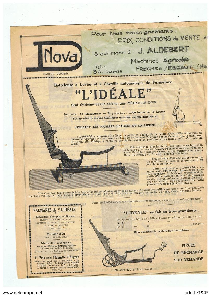 """BOTTELEUSE LEVIER ET CHEVILLE AUTOMATIQUE  """""""" L'IDEALE """"""""  J. ALDEBERT à FRESNES SUR ESCAUT (NORD) - Advertising"""