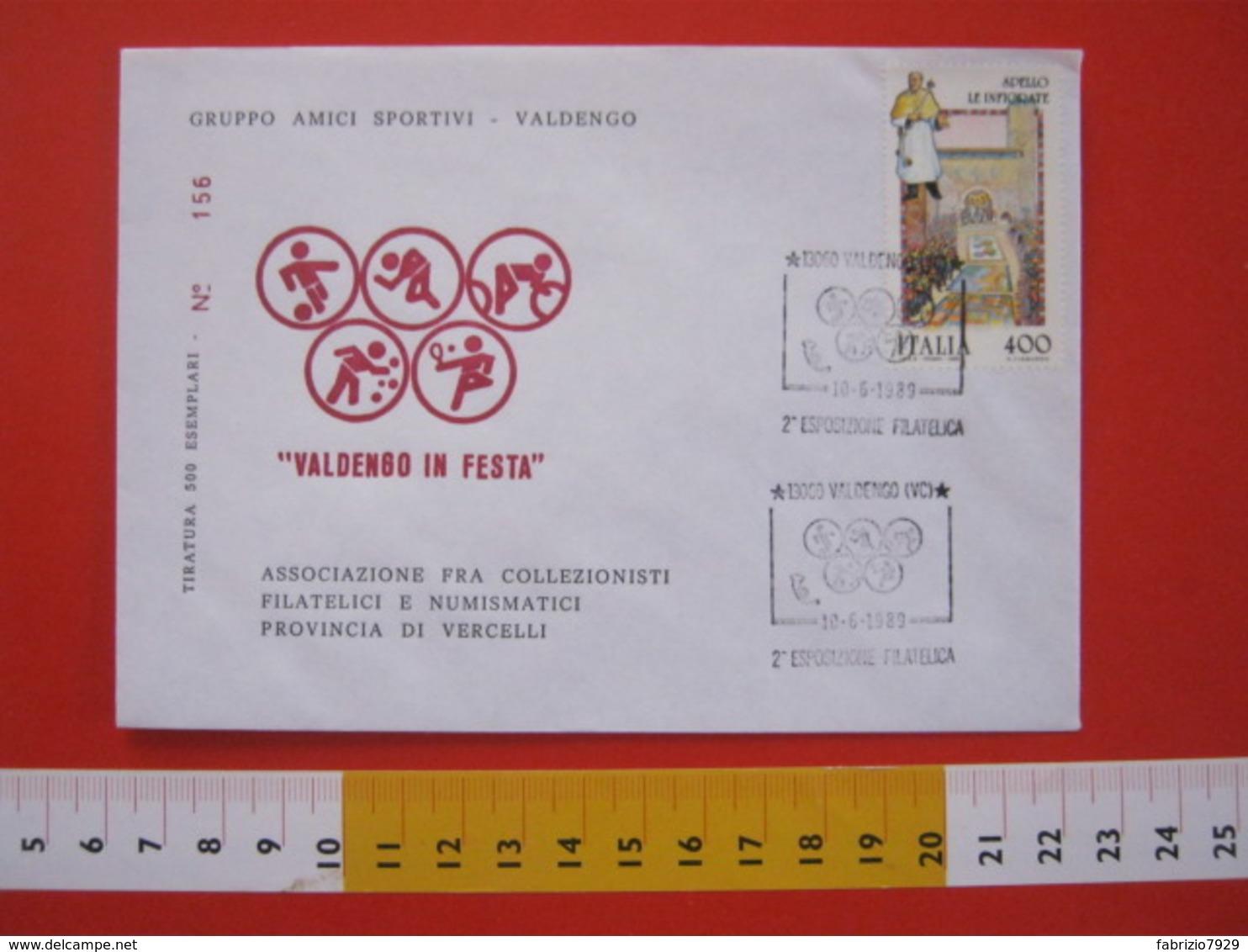 A.08 ITALIA ANNULLO - 1989 VALDENGO VERCELLI BIELLA ESPOSIZIONE FILATELICA SPORT CALCIO ATLETICA CICLISMO BOCCE TENNIS - Ciclismo