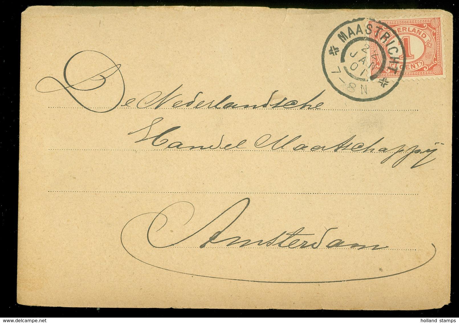 GESCHREVEN BRIEFKAART Gelopen In 1901 Van MAASTRICHT Naar AMSTERDAM  (11.508q) - Periode 1891-1948 (Wilhelmina)