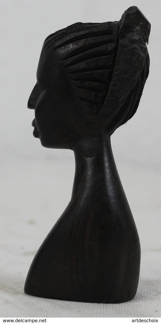 Buste En Ebène - Tête - Coiffure Du Togo Afrique - Art Africain