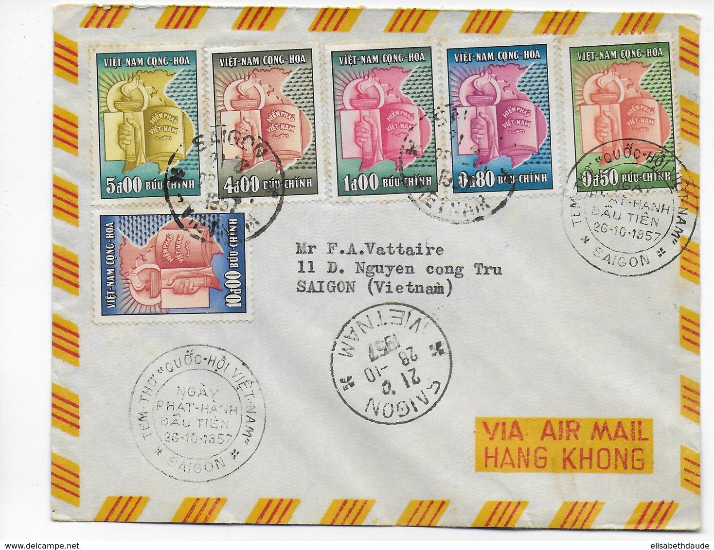 VIETNAM - 1957 - ENVELOPPE FDC 2° ANNIVERSAIRE De La REPUBLIQUE à SAÏGON - Viêt-Nam