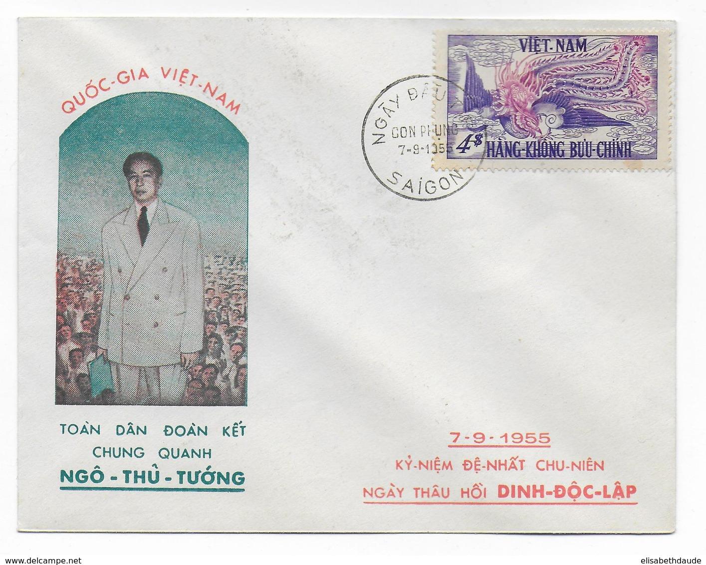 VIETNAM - 1955 - ENVELOPPE FDC POSTE AERIENNE PHENIX à SAÏGON - Viêt-Nam