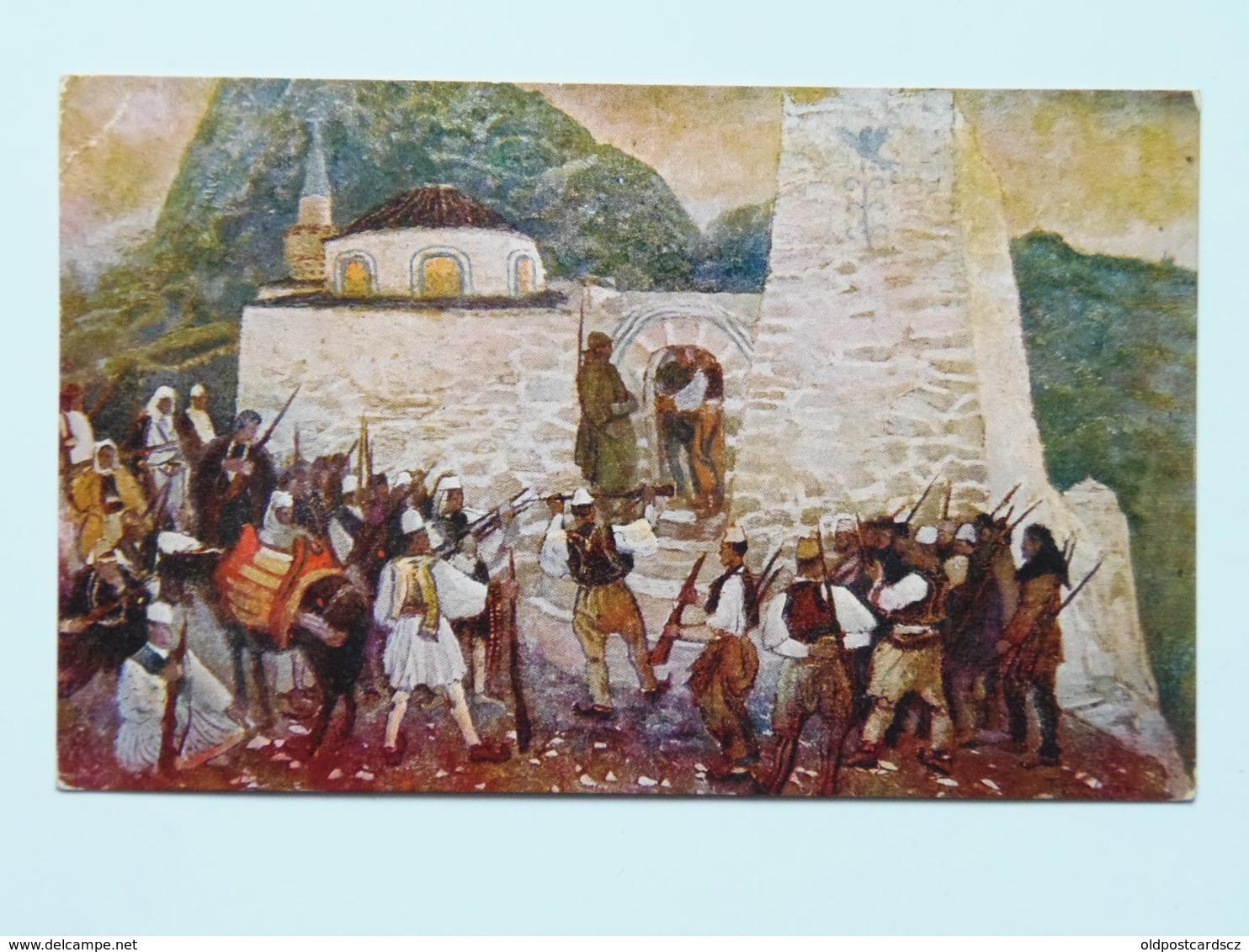 Cascella 8 Croce Rossa Italiana Prima Guerra Pubblicita Pubblicitaria Militare WWI Viaggiato 6 Serie N. 35 Gli Albanesi - Illustratori & Fotografie