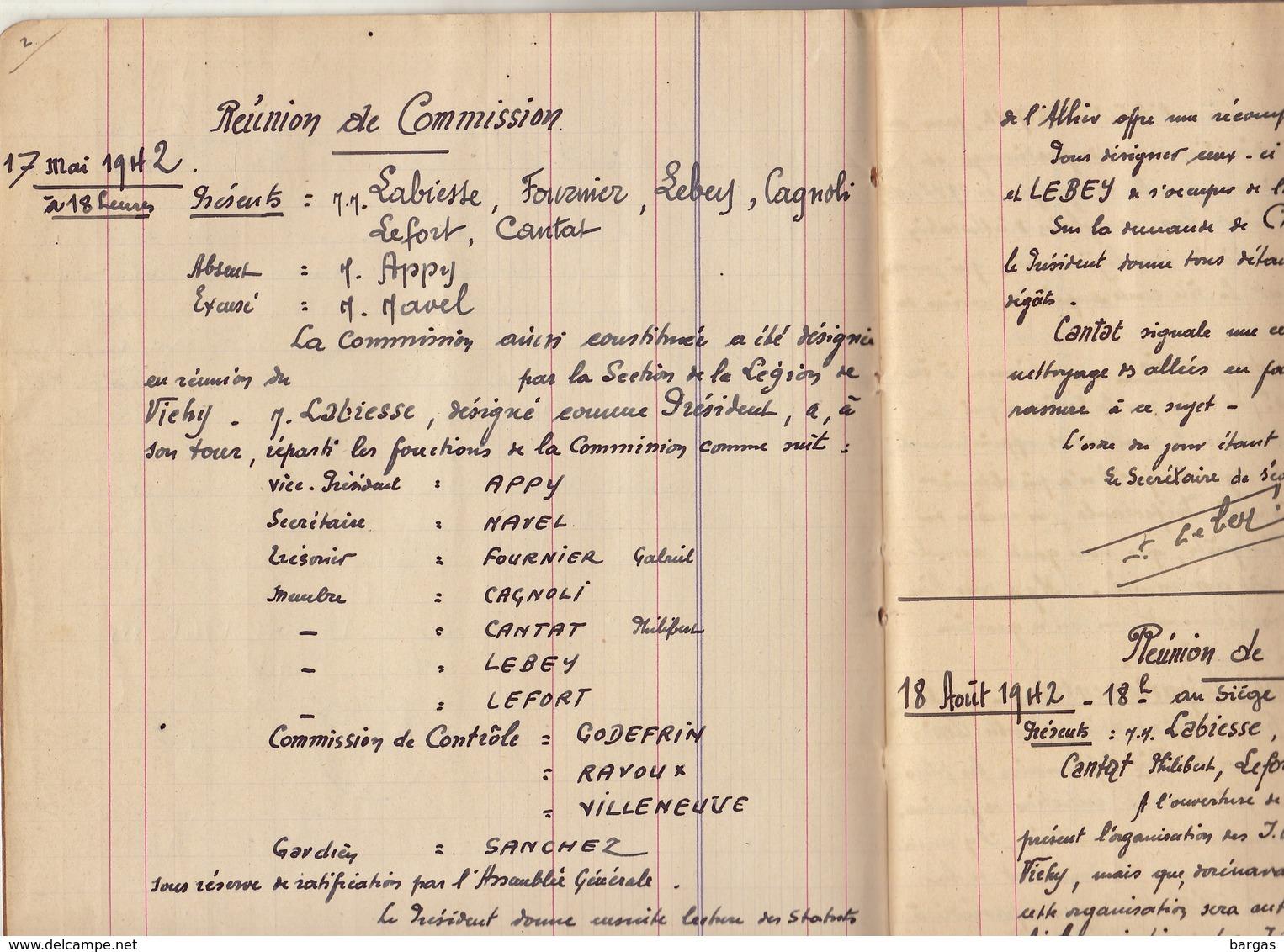 UNIQUE 32 Années Des Jardins Ouvriers Des Combattants De Vichy Légion Lapalisse Allier Manuscrit Guerre WWII - Documents Historiques
