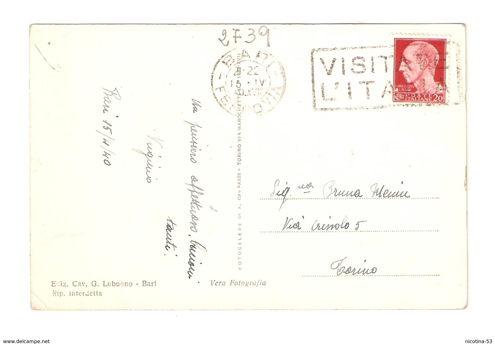 CT--02739-- BARI-CORSO CAVOUR - TEATRO PETRUZZELLI- VIAGGIATA 1940 - Bari