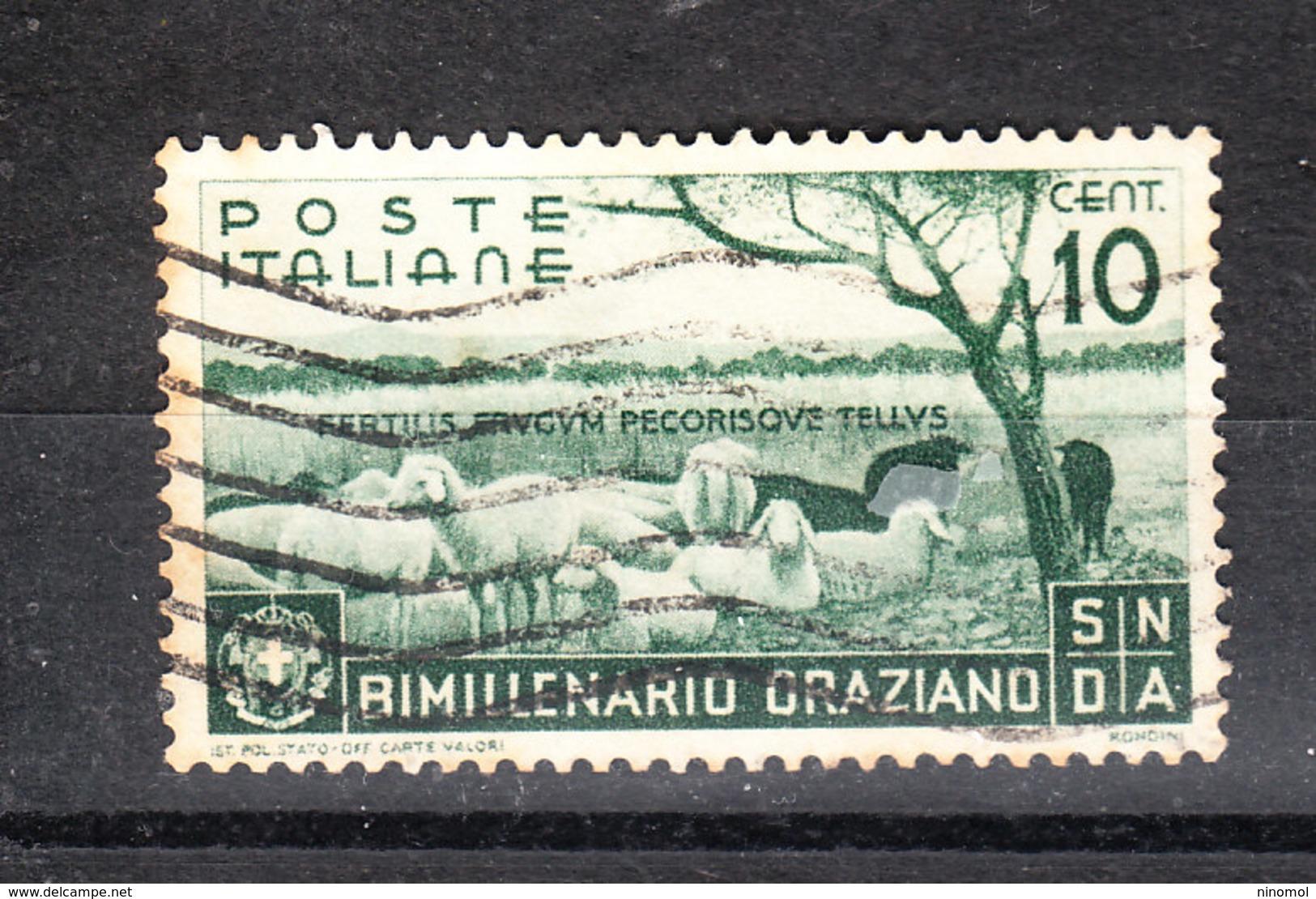 Italia   - 1936. Bimillenario Oraziano. 10 C. Viaggiato - Usati