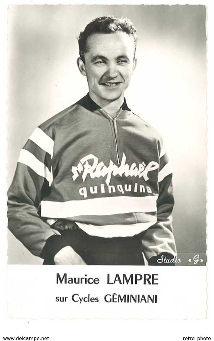 Carte Coureur Cycliste Maurice Lampre , Sur Cycles Géminiani ( Pub Saint Raphaël ) - Cyclisme