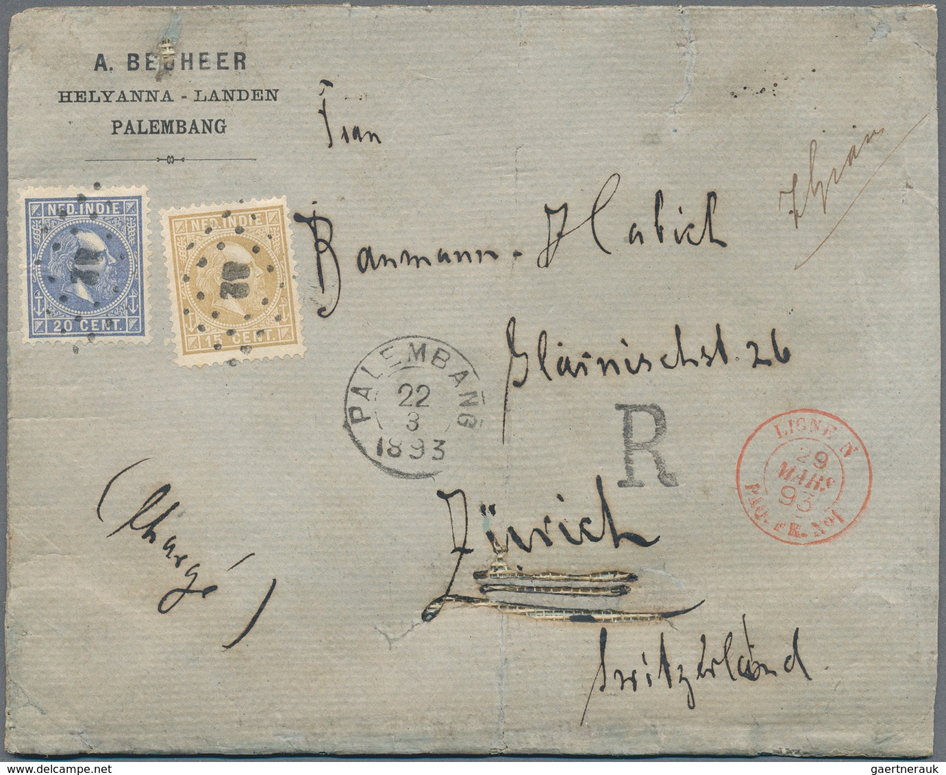 """Niederländisch-Indien: 1893/1942, Covers (34 Inc. Many By Air) And Used Ppc (2). Inc. Puntstempel """"2 - Indes Néerlandaises"""