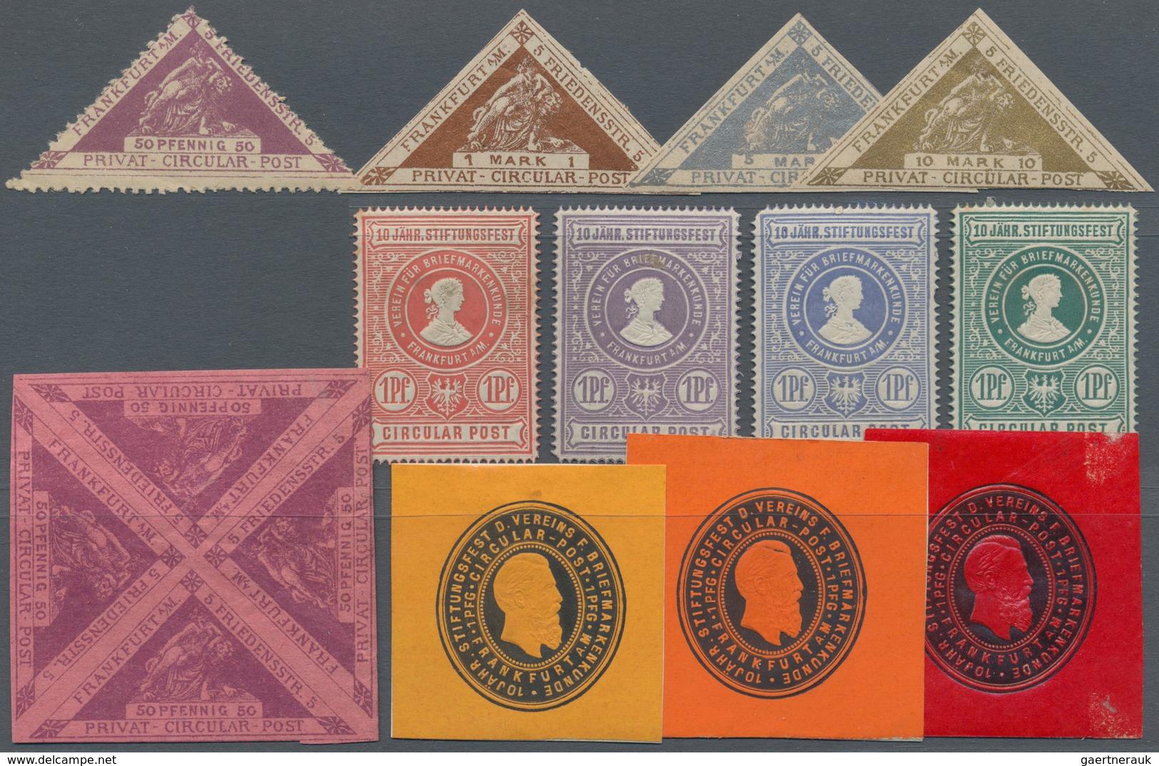 Deutsches Reich - Privatpost (Stadtpost): FRANKFURT, Sammlung Von 245 Marken Einschließlich Viererbl - Posta Privata