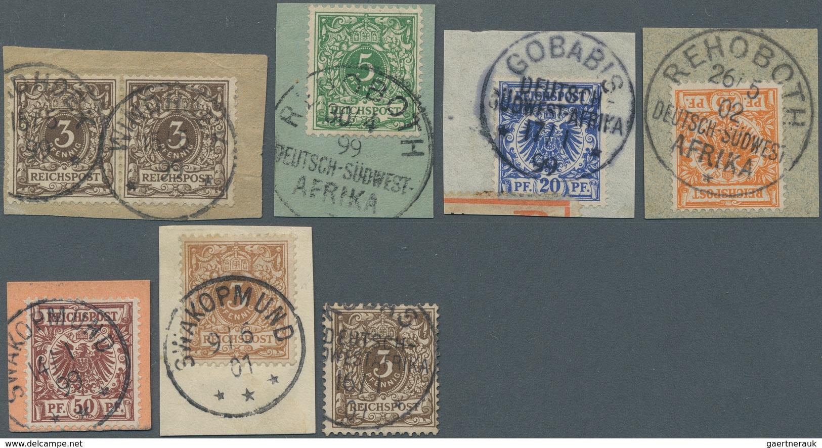 Deutsch-Südwestafrika - Mitläufer: 1899/1901, Lot Von Acht Werten, Meist Auf Briefstück Und Je Mit K - Kolonie: Deutsch-Südwestafrika